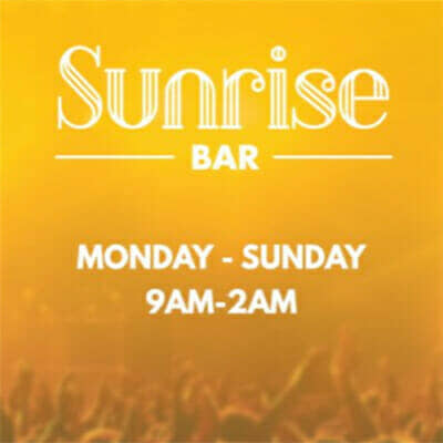 Sunrise Bar at the Casino at Dania Beach is open Monday - Sunday from 9am - 2am